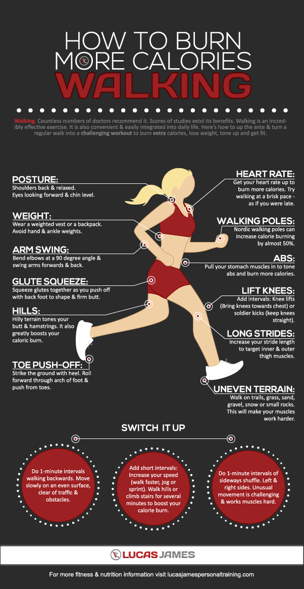 how to burn more calories walking infographic best infographics. Black Bedroom Furniture Sets. Home Design Ideas